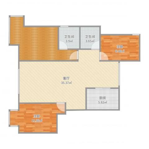 东湖湾C3-西单元-西户2室1厅2卫1厨106.00㎡户型图