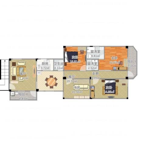 老人民医院宿舍4室6厅1卫1厨137.00㎡户型图