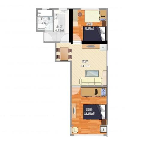 呼玛五村2室1厅1卫1厨43.86㎡户型图