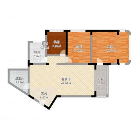 华脉新村3室2厅1卫1厨125.00㎡户型图