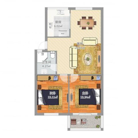 薛家新家园2室1厅1卫1厨82.00㎡户型图