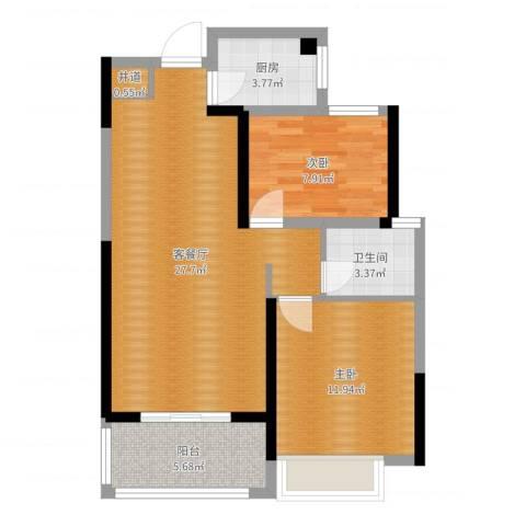 朗贤奥特莱斯小镇2室2厅2卫1厨76.00㎡户型图
