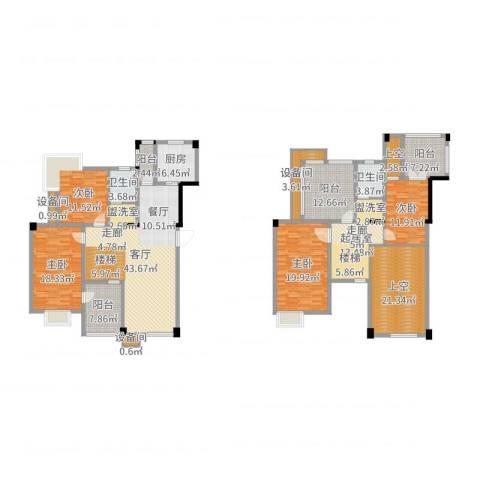 红莲湖首府4室1厅2卫1厨192.15㎡户型图