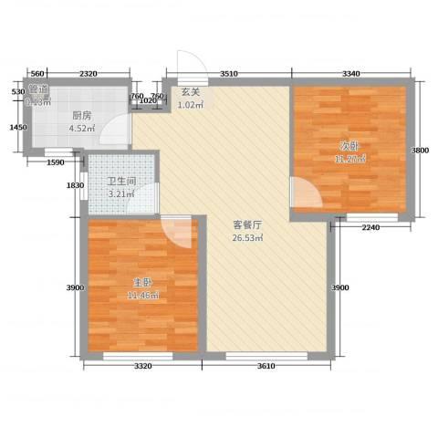 恒瑶・水韵城2室2厅1卫1厨80.00㎡户型图