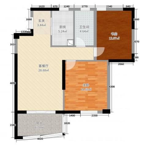长岛府2室2厅1卫1厨90.00㎡户型图