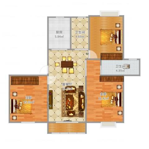 玉成家园2室2厅2卫1厨107.00㎡户型图
