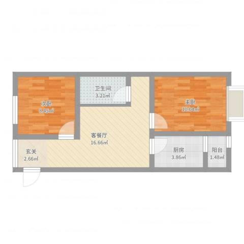 蓝光星华海悦城2室2厅1卫1厨55.00㎡户型图