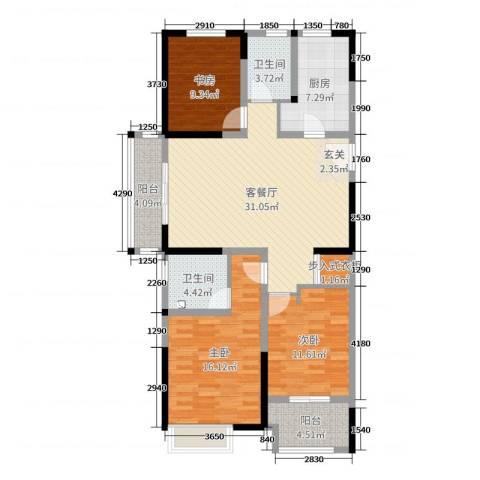 常发御龙山3室2厅2卫1厨117.00㎡户型图