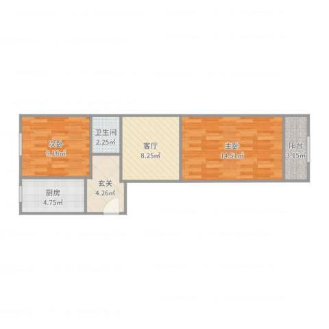 东八里庄北里2室1厅1卫1厨58.00㎡户型图