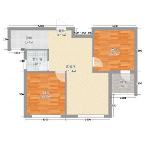 六合-嘉际2室2厅1卫0厨82.00㎡户型图