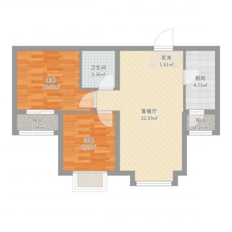 泰古・香槟郡2室2厅1卫1厨66.00㎡户型图