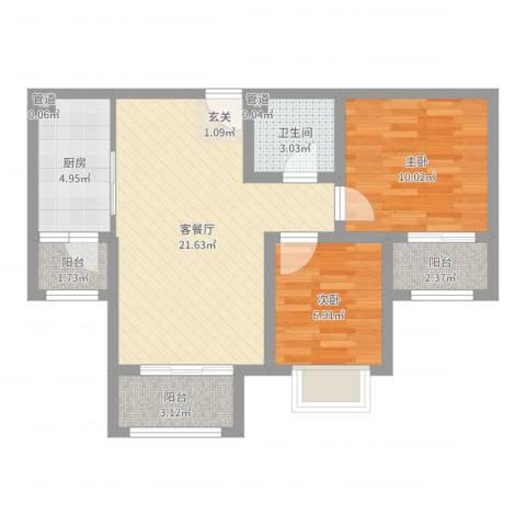 泰古・香槟郡2室2厅1卫1厨67.00㎡户型图