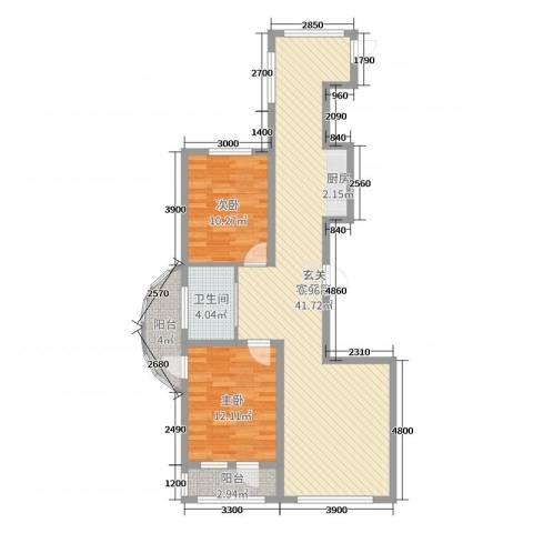 六合-嘉际2室2厅1卫0厨107.00㎡户型图