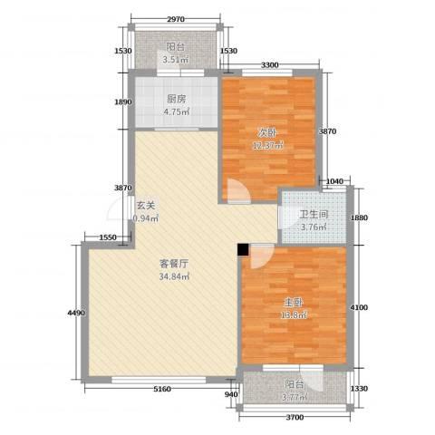 天源秀景2室2厅1卫1厨96.00㎡户型图
