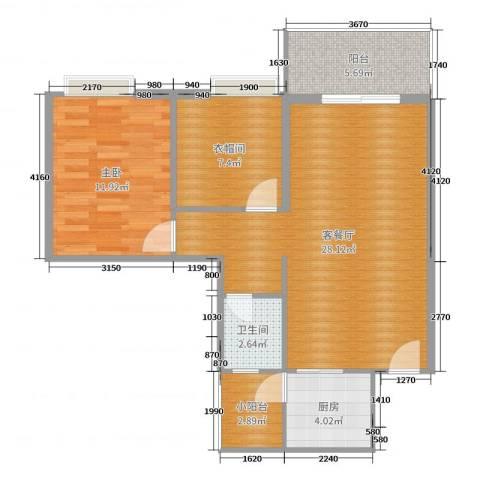 胜球阳光花园1室2厅1卫1厨78.00㎡户型图