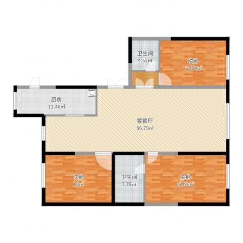 盛世华庭3室2厅2卫1厨175.00㎡户型图