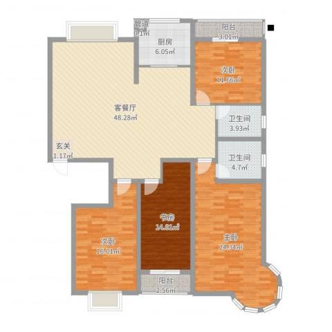 碧海绿洲4室2厅2卫1厨168.00㎡户型图