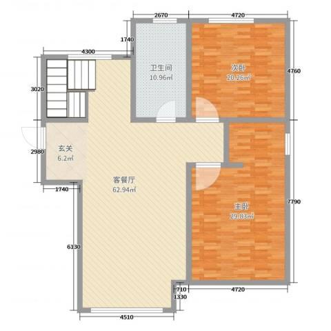 万成御园2室2厅1卫0厨155.00㎡户型图