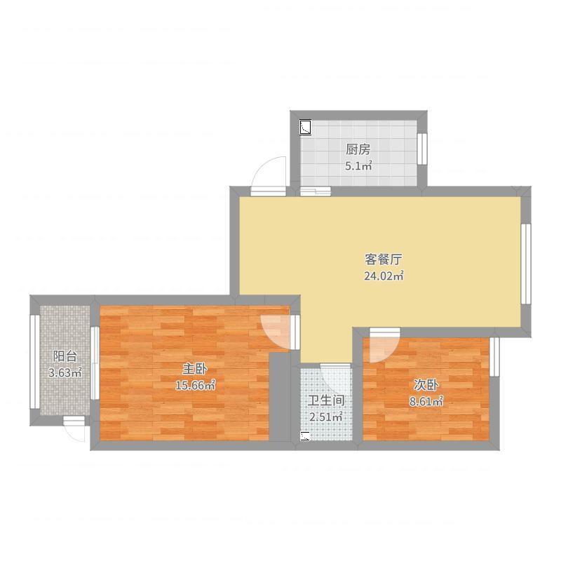 82.5平米两居一厅一卫