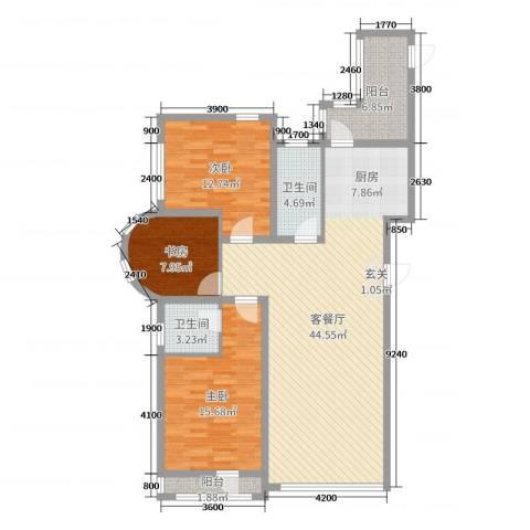 六合-嘉际3室2厅2卫0厨137.00㎡户型图