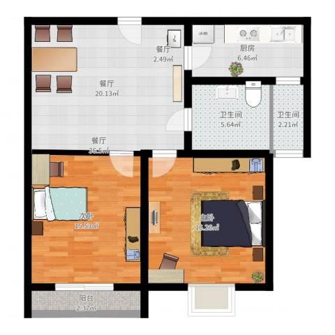 棕榈滩海景城1室1厅2卫1厨87.00㎡户型图