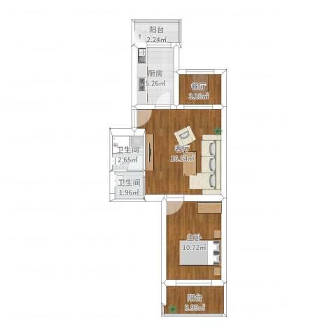 老山西里1室2厅2卫1厨58.00㎡户型图