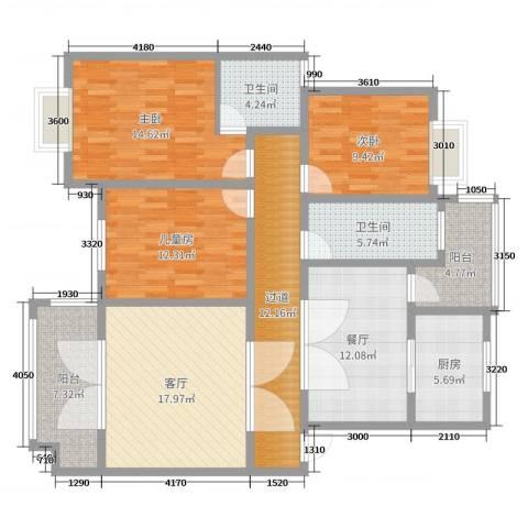 公安局宿舍F栋6-023室2厅2卫1厨133.00㎡户型图