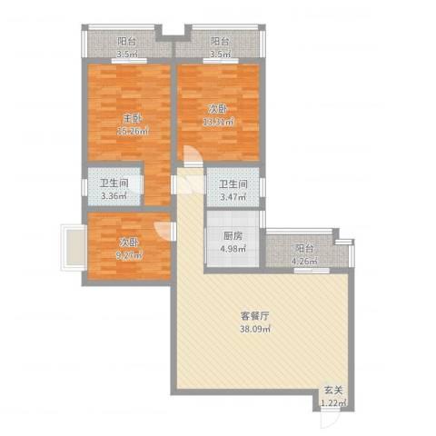 海棠花园3室2厅2卫1厨124.00㎡户型图