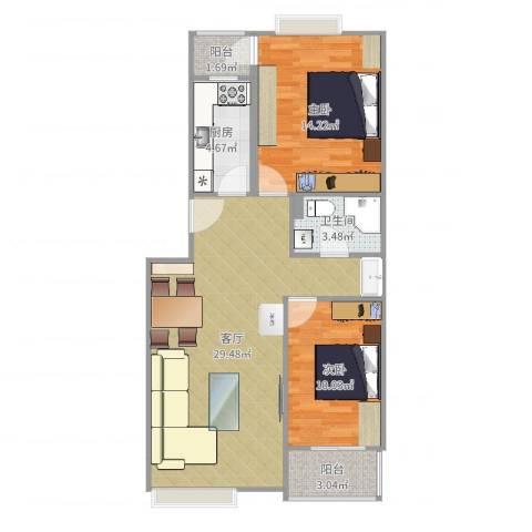 世嘉丽晶2室1厅1卫1厨83.00㎡户型图