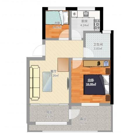 爱法花园二期2室1厅1卫1厨62.00㎡户型图