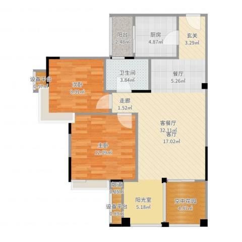 世纪城玫瑰公馆2室2厅1卫1厨89.00㎡户型图
