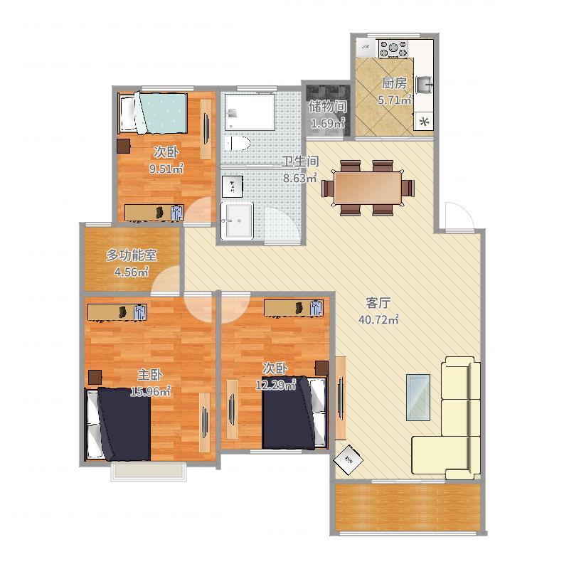120平方三室2卫一厅一厨