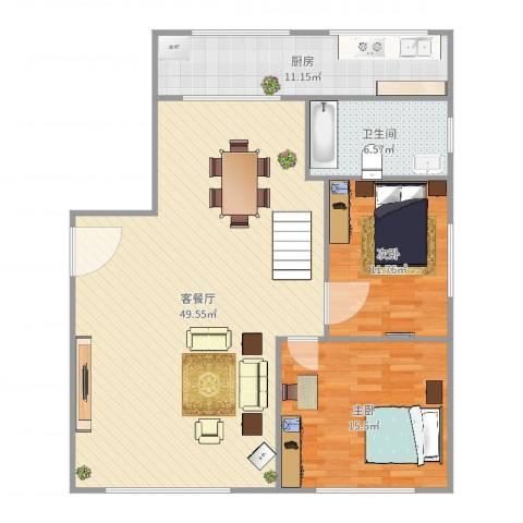 雍江星座2室2厅1卫1厨118.00㎡户型图