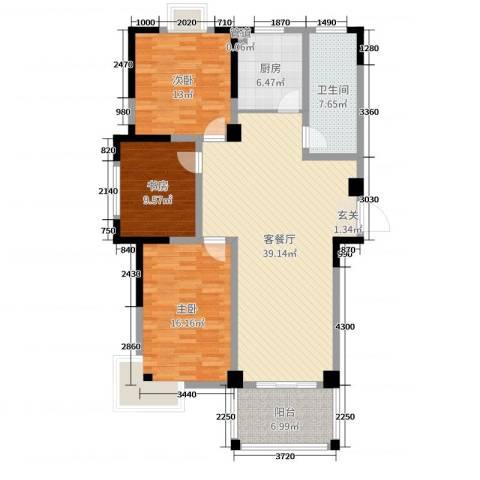东城E-house3室2厅1卫1厨123.00㎡户型图