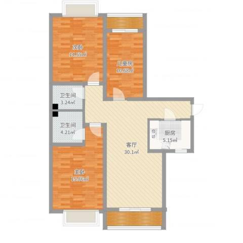 星悦国际3室1厅2卫1厨112.00㎡户型图