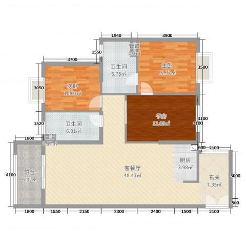 高盛金融中心3室2厅2卫0厨131.00㎡户型图