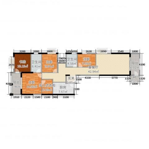 高盛金融中心4室2厅2卫1厨166.00㎡户型图