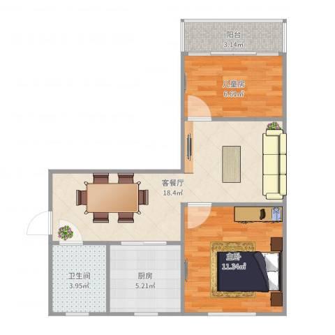 风雷新村2室2厅1卫1厨61.00㎡户型图