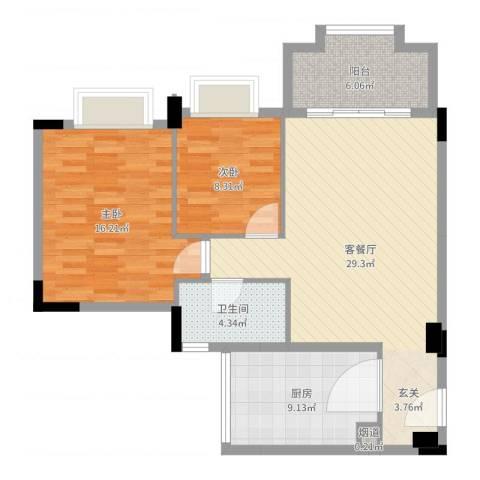 花语心岸2室2厅1卫1厨92.00㎡户型图