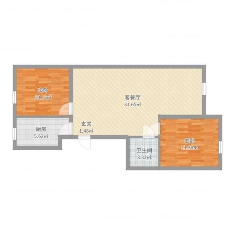 锦绣园2室2厅1卫1厨78.00㎡户型图