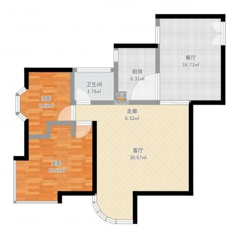 海珠信步闲庭2室2厅1卫1厨102.00㎡户型图