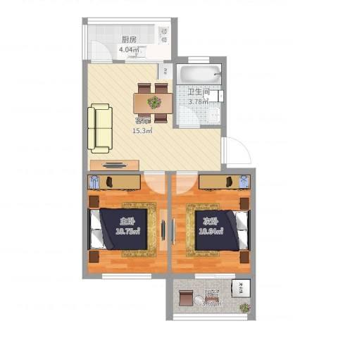 北电小区2室1厅1卫1厨60.00㎡户型图