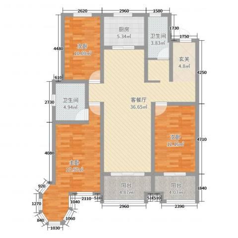 珑印台3室2厅2卫1厨125.00㎡户型图