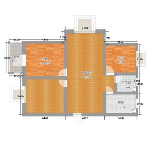 隆庭世家2室2厅1卫1厨109.00㎡户型图