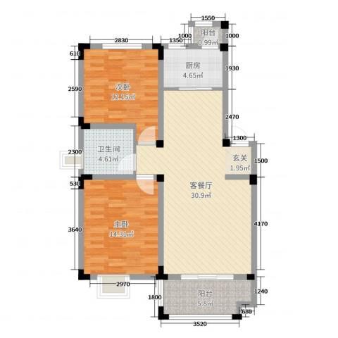 安正御龙湾2室2厅1卫1厨89.00㎡户型图