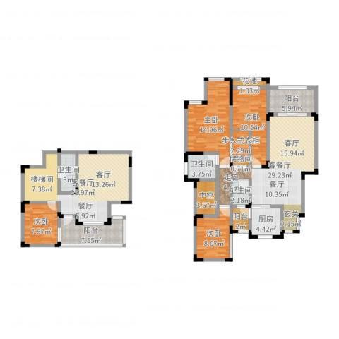 蓝光・十里蓝山 十里蓝山4室4厅3卫1厨166.00㎡户型图