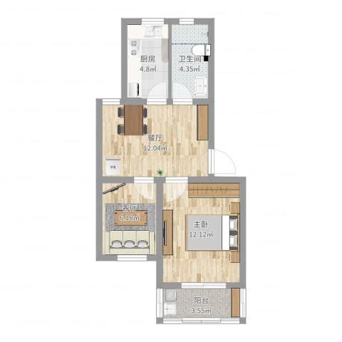 宝邻苑1室2厅1卫1厨54.00㎡户型图