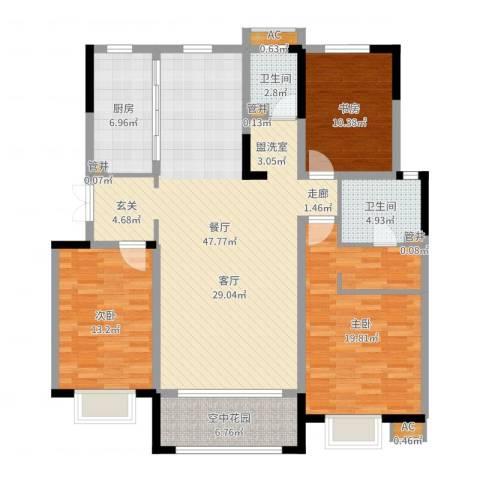 华润仰山・红叶林3室1厅2卫1厨142.00㎡户型图
