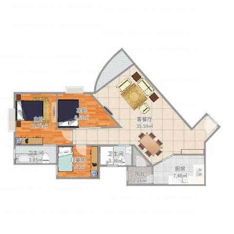 悦龙阁06户型图3室2厅2卫1厨106.00㎡户型图