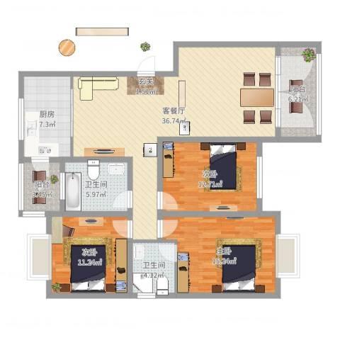 巴黎花苑3室2厅2卫1厨129.00㎡户型图